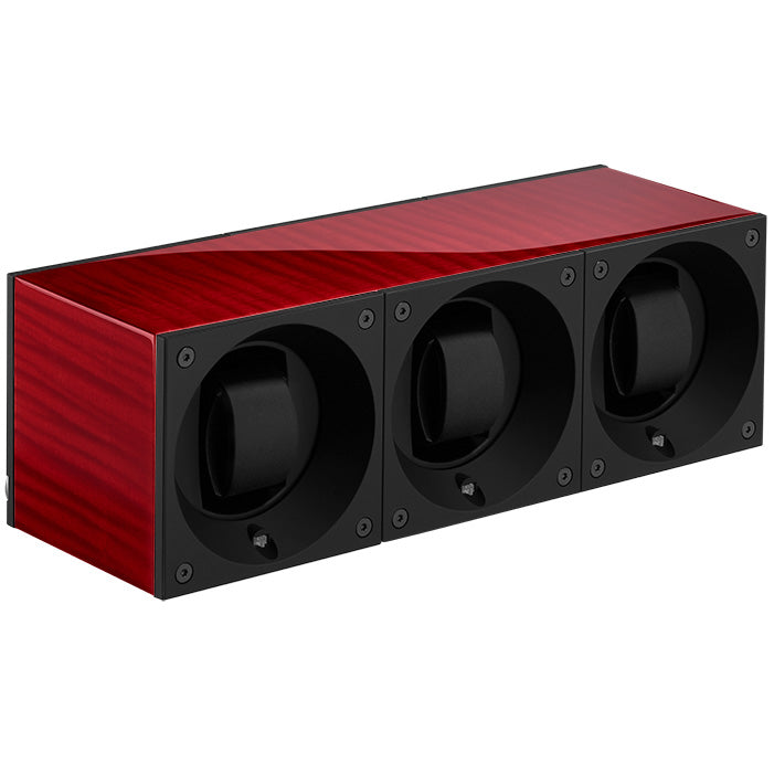 SwissKubik Masterbox Triple Watch Winder in Red Scyamore Wood