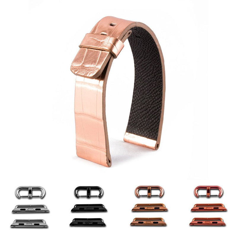 ABP Paris Rose Gold Alligator Leather Apple Watch Strap