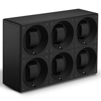 SwissKubik Masterbox Sixfold Watch Winder in Black Leather with Black Stitching