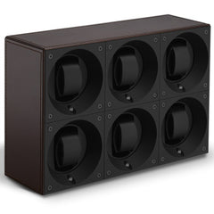 SwissKubik Masterbox Sixfold Watch Winder in Brown Leather with Brown Stitching