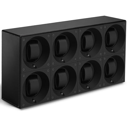 SwissKubik Masterbox Eightfold Watch Winder in Black Leather with Black Stitching