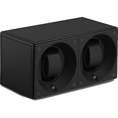 SwissKubik Masterbox Double Watch Winder in Black Leather with Black Stitching