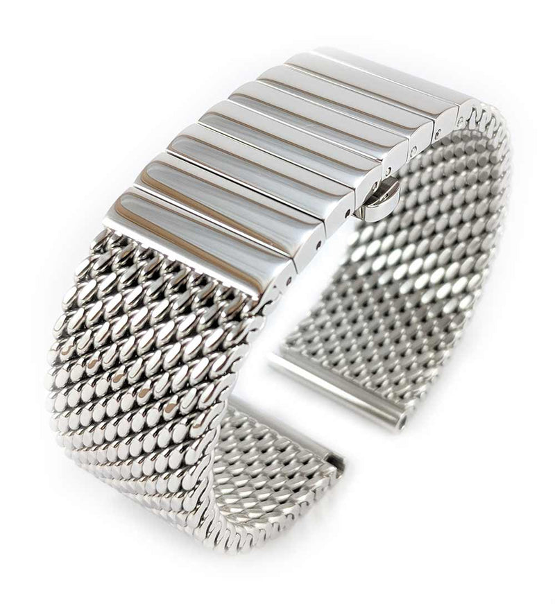 Staib Milanaise Mesh Polished Watch Bracelet with Butterfly Clasp 24mm
