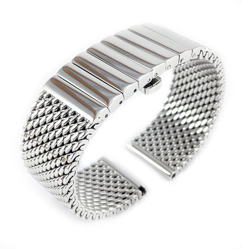 Staib Milanaise Mesh Polished Watch Bracelet with Butterfly Clasp 22mm