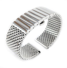 Staib Milanaise Mesh Polished Watch Bracelet with Butterfly Clasp 20mm