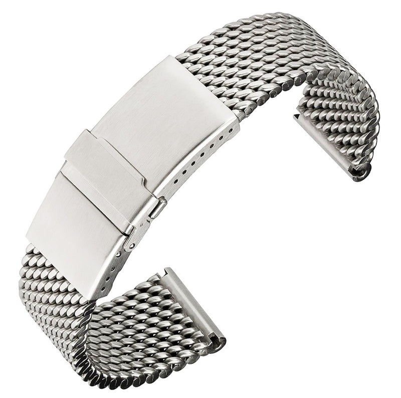 Staib Milanaise Mesh Polished Watch Bracelet with Folding Buckle 22mm