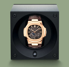 SwissKubik Masterbox Watch Winder in Black Leather with Black Stitching