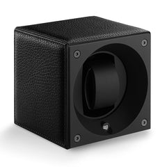 SwissKubik Masterbox Watch Winder in Black Grained Leather with Black Stitching