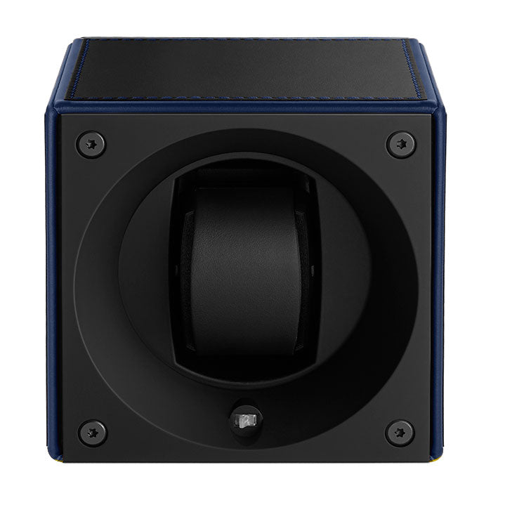 SwissKubik Masterbox Watch Winder in Black Leather with Blue Edges and Stitching