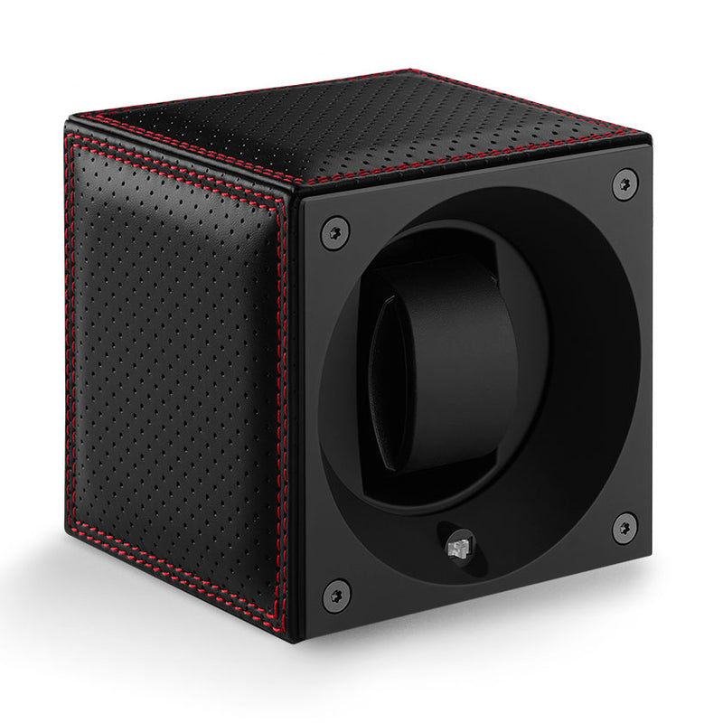 SwissKubik Masterbox Watch Winder in Black Racing Leather with Red Stitching