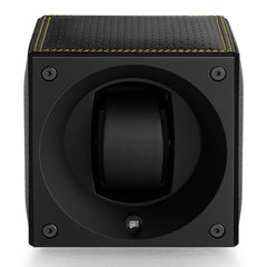 SwissKubik Masterbox Watch Winder in Black Racing Leather with Yellow Stitching