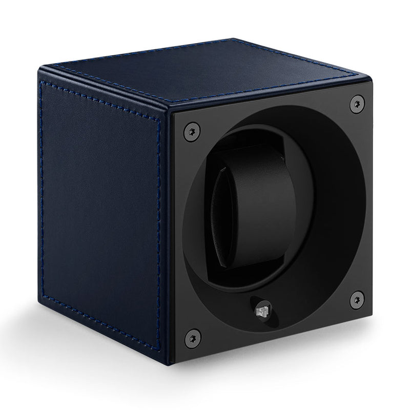 SwissKubik Masterbox Watch Winder in Blue Leather with Blue Stitching