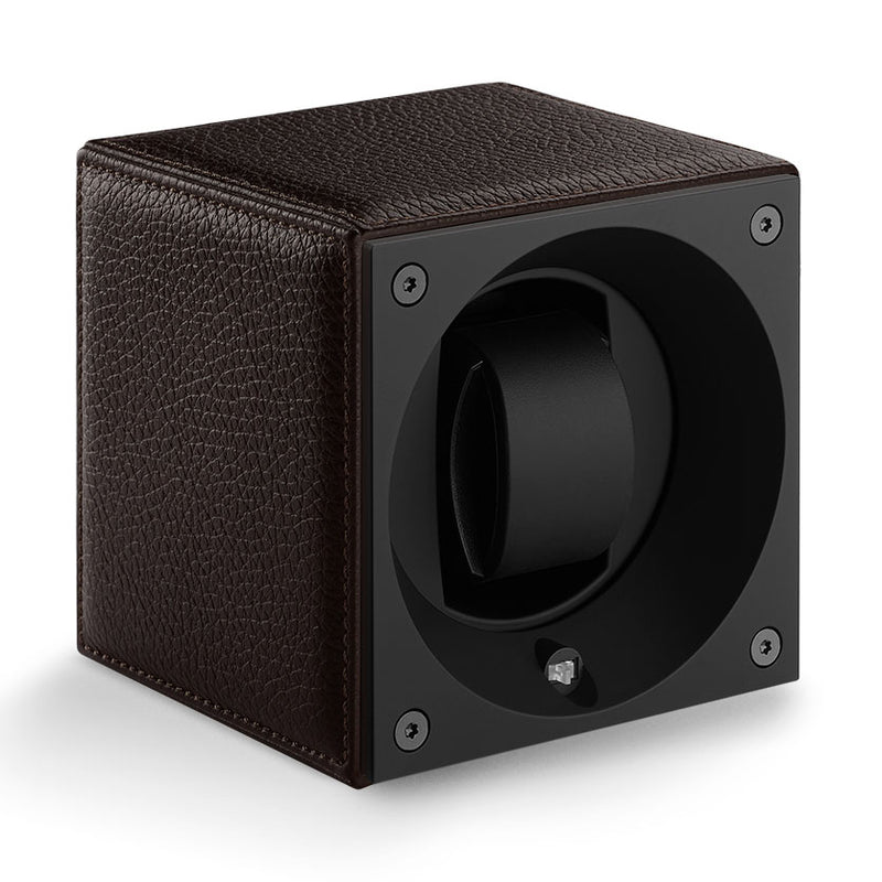 SwissKubik Masterbox Watch Winder in Brown Grained Leather with Brown Stitching