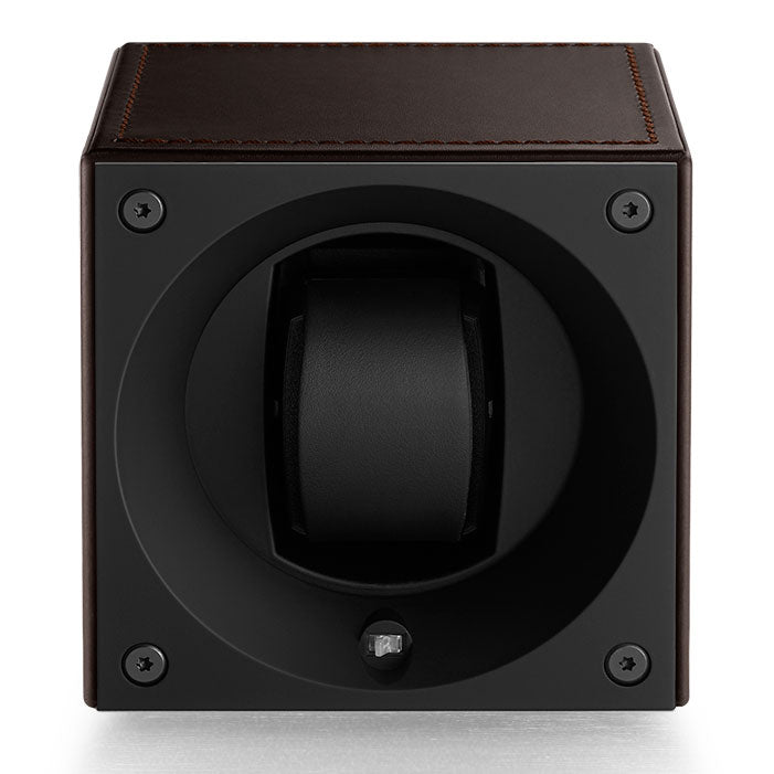SwissKubik Masterbox Watch Winder in Brown Leather with Brown Stitching