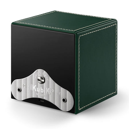 SwissKubik Masterbox Watch Winder in Green Leather with White Stitching