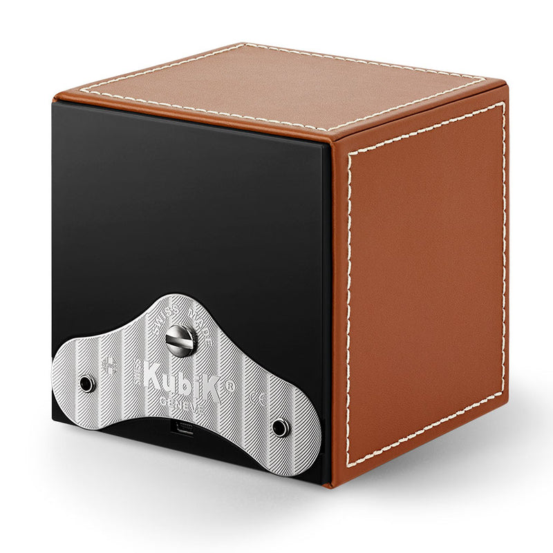 SwissKubik Masterbox Watch Winder in Honey Leather with White Stitching