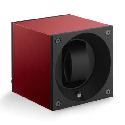 SwissKubik Masterbox Watch Winder in Red Anodized Aluminium