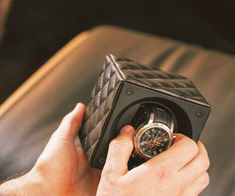 SwissKubik Masterbox Double Watch Winder in Black Racing Leather with Red Stitching