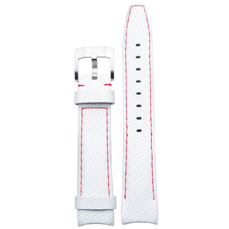 Everest Curved End Racing Leather Watch Strap White with Red stitching for Rolex Sports Models