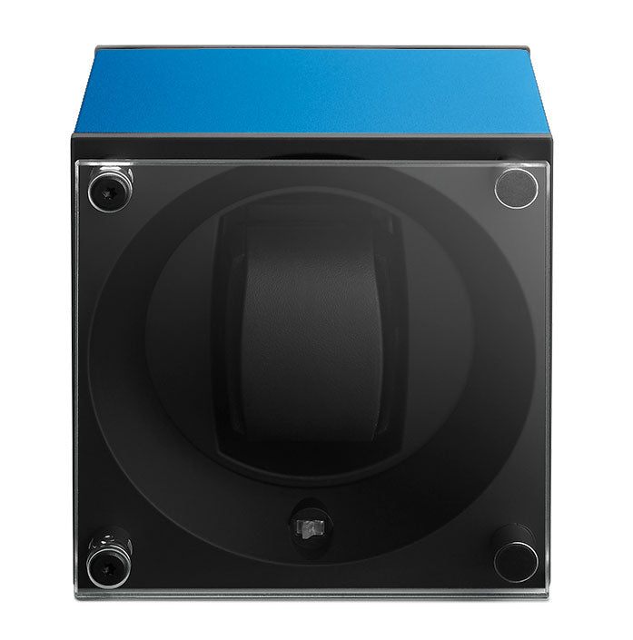 SwissKubik Masterbox Watch Winder in Sapphire Blue Anodized Aluminium
