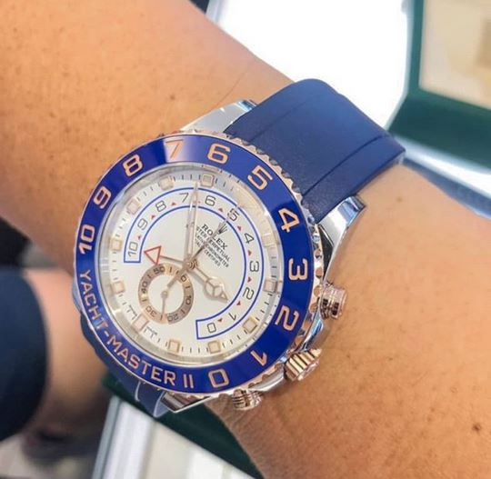 Everest Curved Rubber Strap Blue for Rolex Yacht-Master II