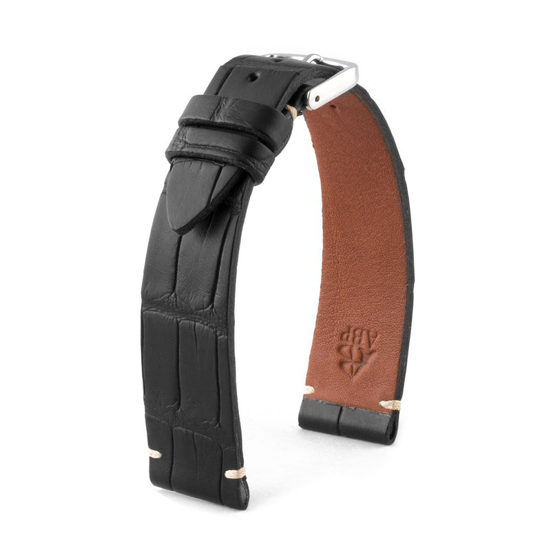 ABP Matt Black Alligator Leather Watch Strap with Ecru stitching