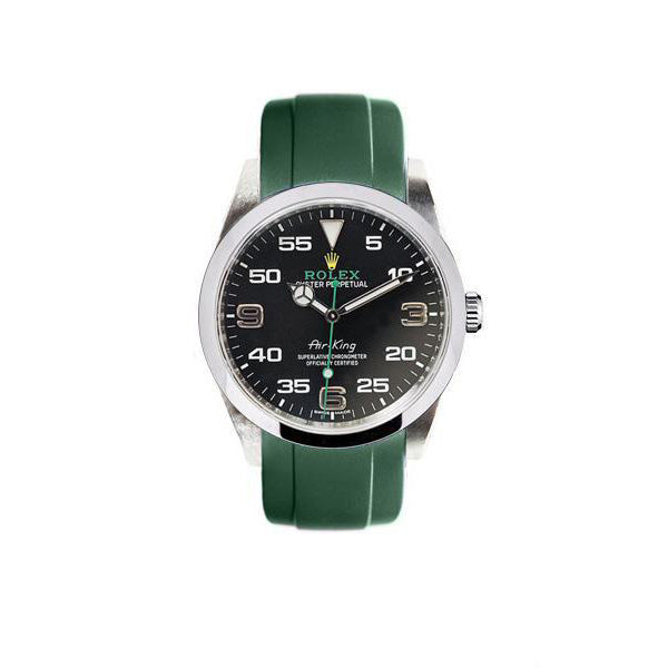 Everest Curved Rubber Strap Green for Rolex Air-King & Rolex Milgauss