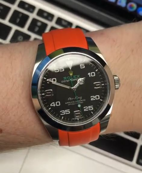 Everest Curved Rubber Strap Orange for Rolex Air-King & Rolex Milgauss