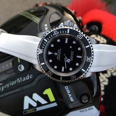 Everest Curved Rubber Strap White EH for Rolex Submariner No Date 14060