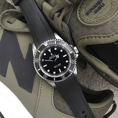 Everest Curved Rubber Strap Black EH for Rolex Submariner No Date 14060