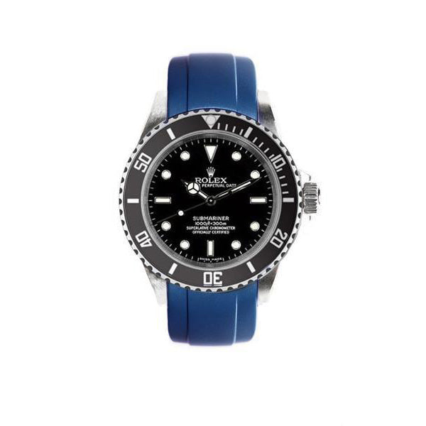 Everest Curved Rubber Strap Blue EH for Rolex Submariner No Date 14060