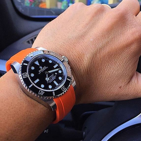 Everest Curved Rubber Strap Orange EH for Rolex Submariner No Date 14060