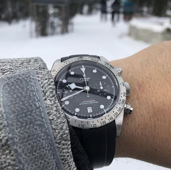 Everest Curved Rubber Watch Strap Black for Tudor Watches
