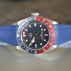 Everest Curved Rubber Watch Strap Blue for Tudor Watches