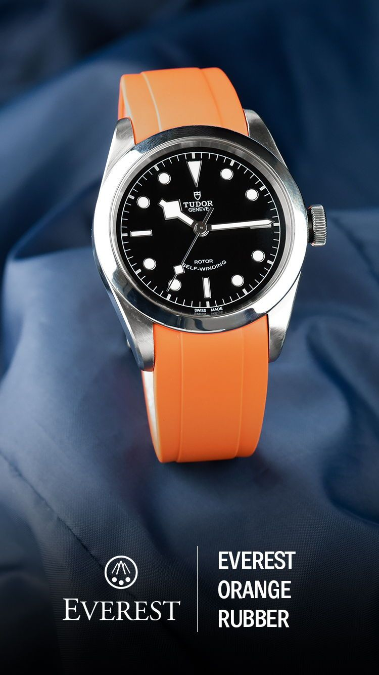 Everest Curved Rubber Watch Strap Orange for Tudor Watches