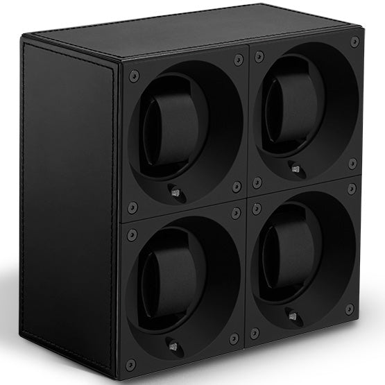 SwissKubik Masterbox Quadruple Watch Winder in Black Leather with Black Stitching