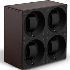 SwissKubik Masterbox Quadruple Watch Winder in Brown Leather with Brown Stitching