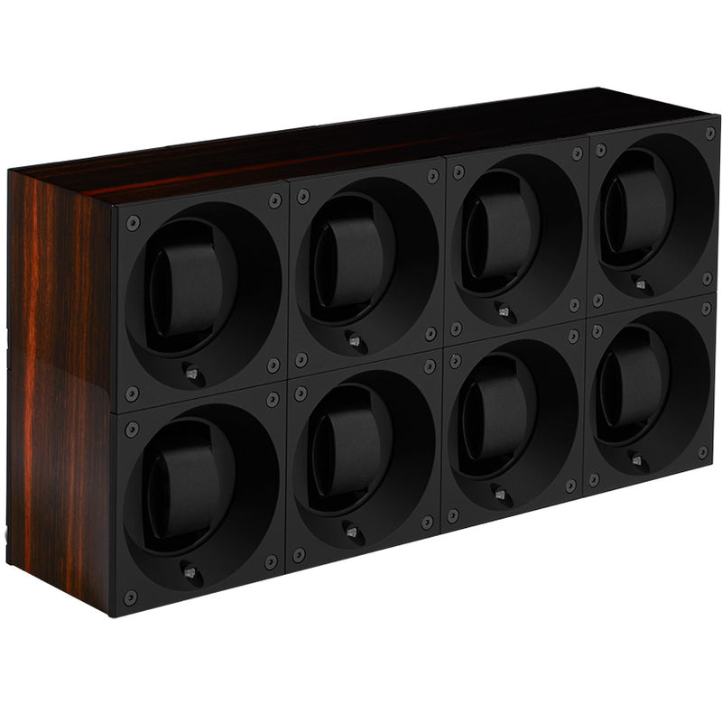 SwissKubik Masterbox Eightfold Watch Winder in Varnished Macassar Ebony Wood