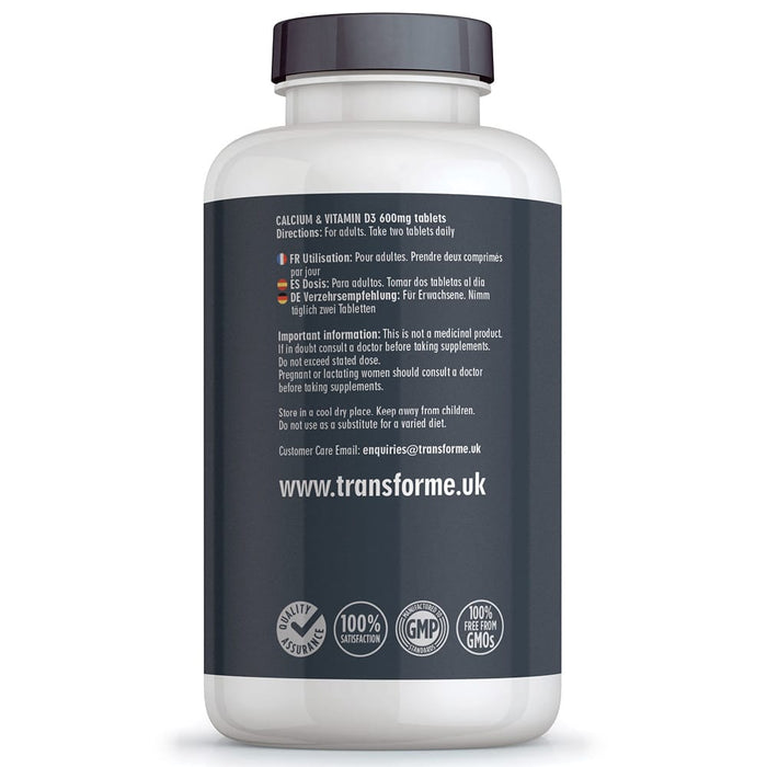 Transforme Calcium and Vitamin D3 600mg, 365 vegetarian tablets, bottle back showing directions for use