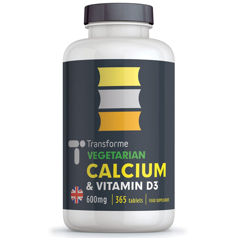 Calcium and Vitamin D3 600mg, 365 vegetarian tablets, for bones, teeth, muscle function & immune system, two tablets give full NRV, from Transforme