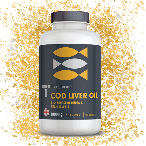 Cod Liver Oil 1000mg Softgel Capsules, High Strength Omega 3 Fatty Acids EPA & DHA with Vitamins A and D