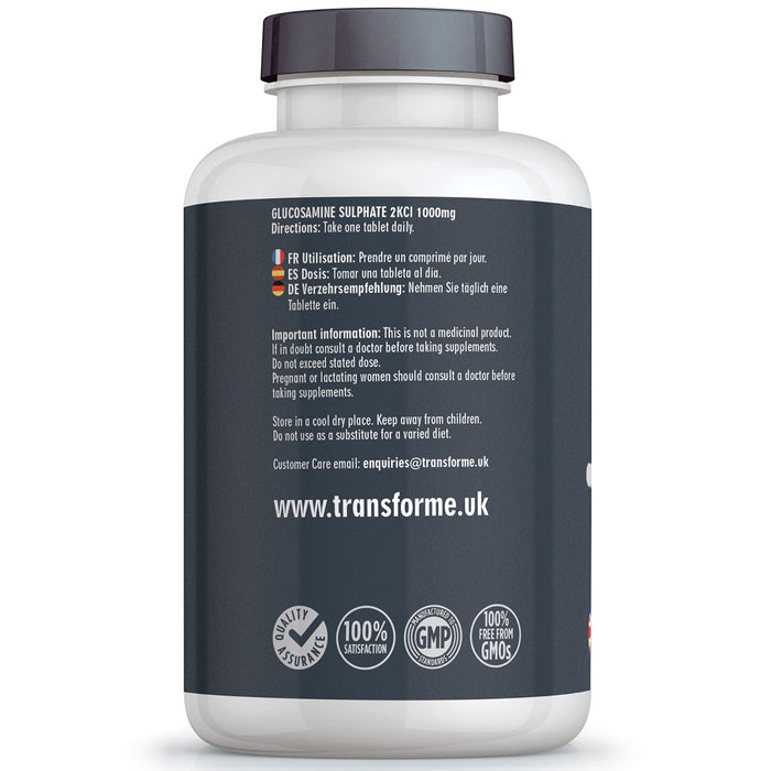 Transforme high strength Glucosamine Sulphate 2KCl 1000mg coated tablets, 180 or 365 tablets, bottle back with directions for use