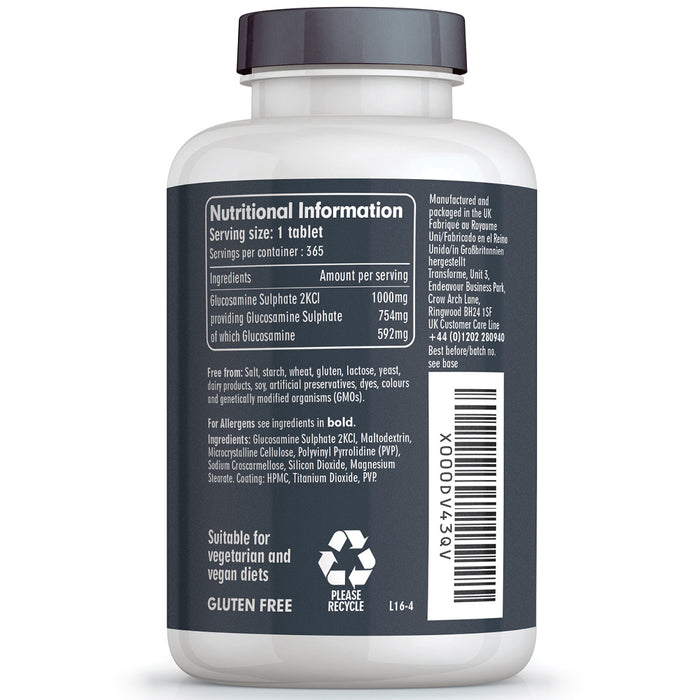 Transforme Glucosamine Sulphate 2KCl 1000mg coated tablets, 180 or 365 high strength  tablets, bottle back with nutritional information