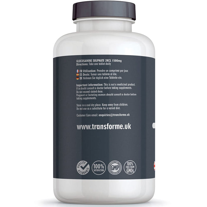 Glucosamine Sulphate 1500mg vegetarian & vegan high strength coated & breakable tablets, Transforme bottle back with directions for use