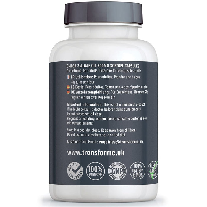 Transforme fish free Omega 3 Algal Oil, 60 x 500mg softgel capsules, DHA, bottle back with directions for use