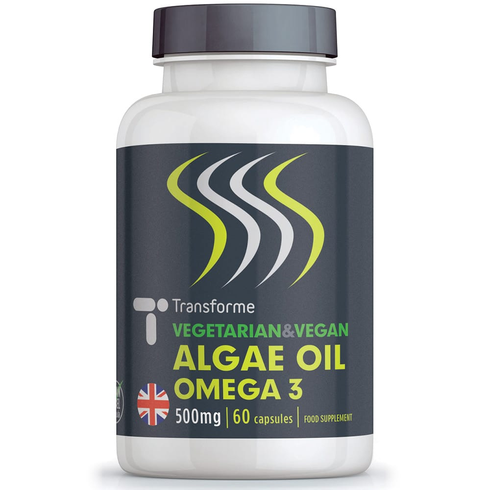 Omega 3 Algae Oil 500mg softgel supplement, vegetarian, vegan, natural, fish free, pure & concentrated DHA omega-3 fatty acid, 60 capsules bottle, from Transforme