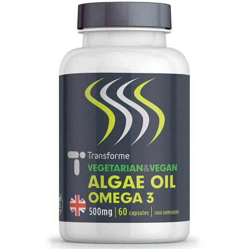 Omega 3 Algae Oil 500mg softgel supplement, vegetarian, vegan, natural, fish free, pure & concentrated DHA omega-3 fatty acid, 60 capsules, from Transforme