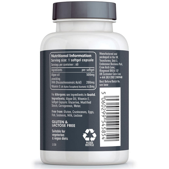 Transforme Omega 3 Algae Oil supplement, 500mg 60 softgel bottle, back view showing nutritional information