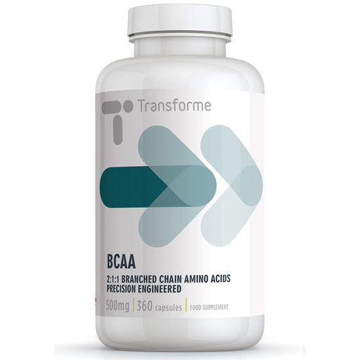 BCAA Branched Chain Amino Acids 500mg, L-Leucine 250mg, L-Isoleucine 125mg, L-Valine 125mg, per capsule, 360 capsule bottle, 2500mg serving by Transforme