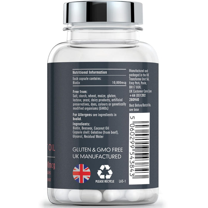 Biotin and Coconut Oil 10000 mcg capsules, Transforme 365 capsule bottle back showing nutritional information